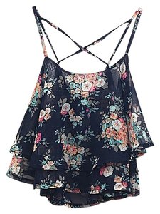 Other Cross Floral Ruffled Top Black
