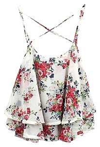 Other Cross Back Black Floral Ruffled Top White
