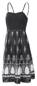 Other short dress Black & White Free People Bohemian Anthropology Hippie Lace on Tradesy