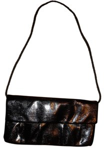 Style & Co Alligator Skin Shiny Prom Formal Fancy Black Clutch