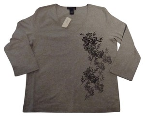 Ann Taylor T Shirt Gray & Black