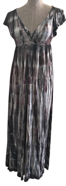 Item - Brown Charcoal White Tie-dye Long Casual Maxi Dress Size OS (one size)