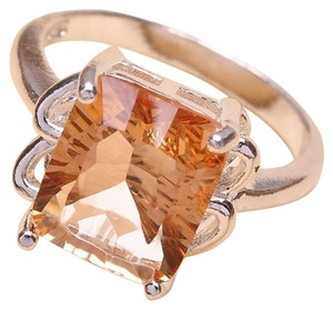925 STERLING SILVER FACETED ORANGE TOPAZ GEMSTONE RING SIZE 7