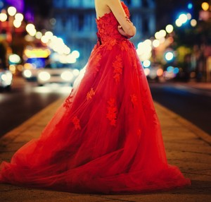 Red Lace Elegant Gown Traditional Wedding Dress Size 2 (XS)
