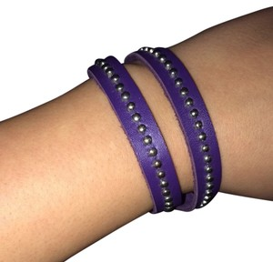 Purple Leather And Stud Wrap Bracelet