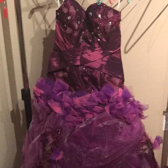 Purple Lace Gown Dress Size 2 (XS)