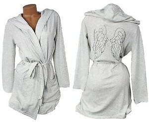 Victoria's Secret Victorias Secret Bling Hooded Terry Robe Angel Wing Rhinestone Gray