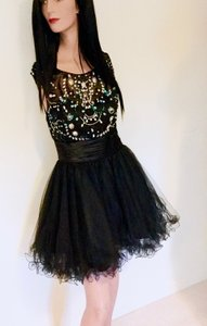 Black Net With White Crystals, White Rhinestones, Black Beads, Blue Sequins * Adult Sizes 2, 4, 6 / OR Girls XS, S & M | Gs1140 Dress