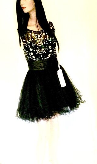 Black Net with White Crystals White Rhinestones Black Beads Blue Sequins * Adult 6 / Or Girls Xs S & M | Polly Gs1140 Sexy Bridesmaid/Mob Dress Size 4 (S) Image 4