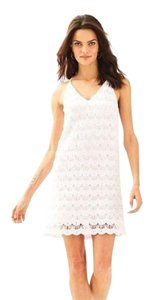 Lilly Pulitzer short dress Resort White Scalloped Lace Summer Strappy Slip on Tradesy