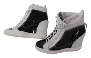 Giuseppe Zanotti Mixed Leather High Fashion Wedge Made In Italy Women's Sneaker Navy/White Athletic