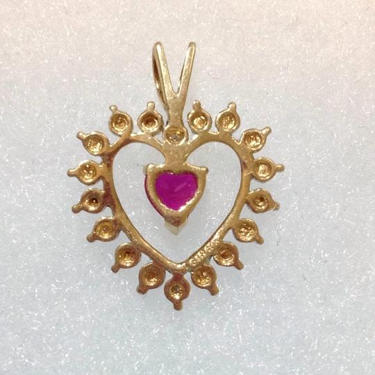 Other 10K 10KT SOLID YELLOW GOLD DIAMOND PENDANT WITH GARNET STONE Image 1