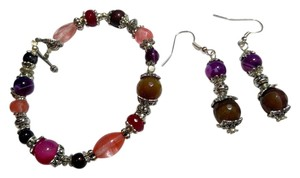 New Agate Stone & Cherry Quartz Gemstone Bracelet Earrings Set J2366