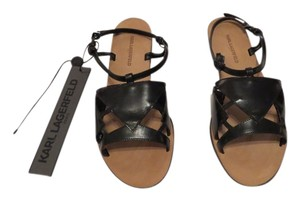 Karl Lagerfeld Cut Outs Attractive Design Made In Italy Black Sandals