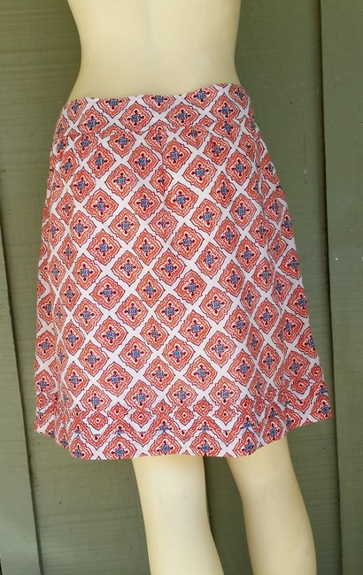 Ann Taylor LOFT Lightweight Side Zipper Skirt Orange