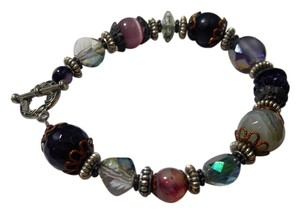 Other New Agate Gemstone Crystal Bracelet Purple Copper J2369