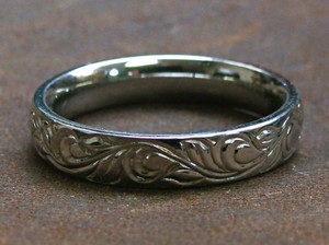 Engraved Stainless Steel Wedding Band- Sz 8.25