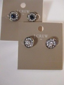 J.Crew J.crew Factory Crystal Stud Earrings A0316 Navy Clear Set Of