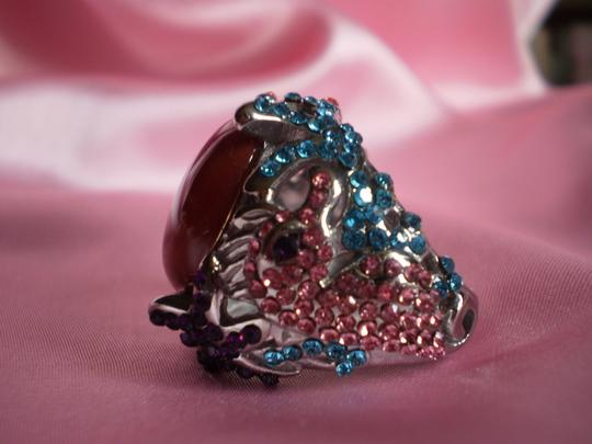 Other Red Agate, Multi Color Austrian Crystals in Stainless Steel (Size 7)