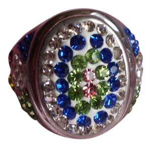 Multi Color Austrian Crystals in Stainless Steel (Size 6)