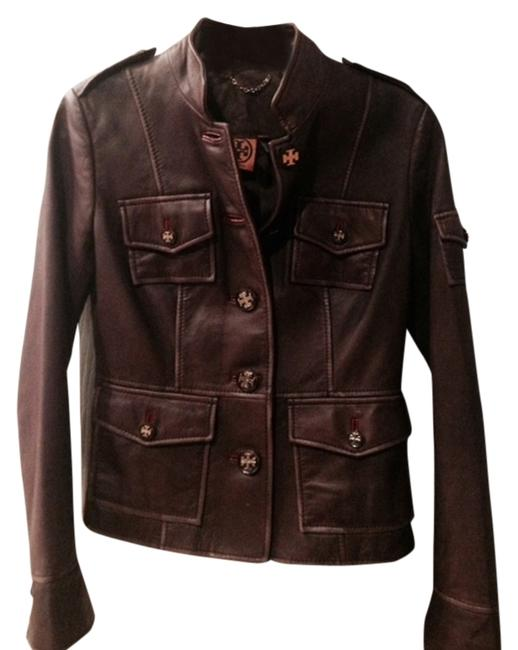 Item - Chocolate Brown Military Leather Activewear Outerwear Size 2 (XS, 26)