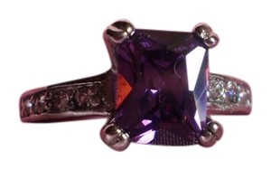 Simulated Purple Sapphire & White Austrian Crystals in Stainless Steel (Size 6)