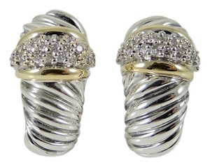 David Yurman David Yurman Sterling Silver 18K Yellow Gold .72tcw Pave Diamond Shrimp Earrings