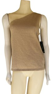 Lauren by Ralph Lauren Lurex One Shoulder Knit Top Gold