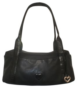 Brighton Leather Croc/gator Satchel in Black