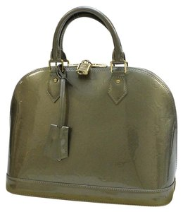 Louis Vuitton Alma Monogram Vernis Satchel in Green / Olive Green/ Gold Hardware