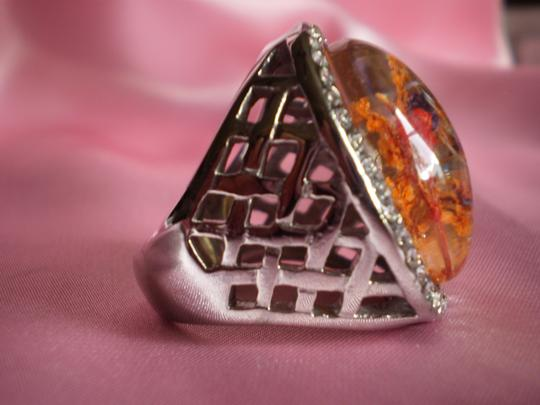 Other Chroma, White Austrian Crystals in Stainless Steel (Size 9)