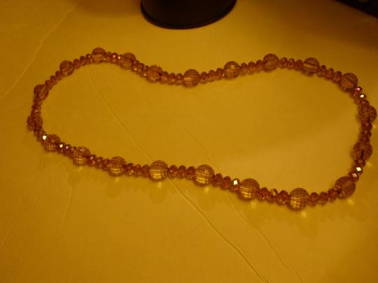 Other Stunning sparkling translucent pink beaded jewel necklace pullover round ish textured balls