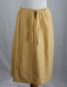 ORVIS Striped Drawstring Waist Green Orange Skirt Yellow