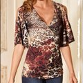 Boston Proper Kimino Sleeve Cold Shoulder Animal Print Ruching Top Black /Brown Image 0