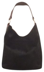 Maurizio Taiuti Leather Real Cowhide Fur Hobo Black Shoulder Bag