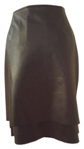 Escada 100% Leather 100% Silk Lining Skirt Black