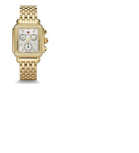 Michele Authentic Michele Deco Diamond Dial Gold Watch with Brown Croc Band