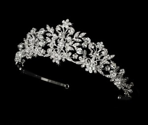 Elegance By Carbonneau Majestic Rhinestone And Pearl Wedding Tiara