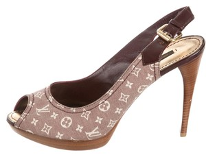 Louis Vuitton Lv Monogram Denim Platform Gold Hardware Peep Toe Red, Beige Pumps