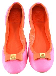 Tory Burch Colorblock Leather Ballet Flamingo/Fire Orange Flats