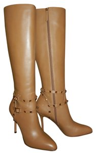Valentino Leather Rockstud Knee High Camel Brown Boots