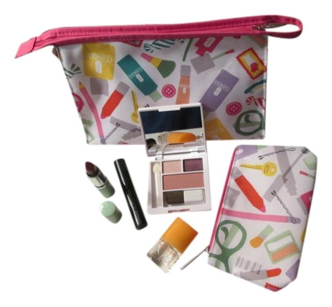 Item - White Pink Aqua Blue Green Orange Yellow Designs Bundle Includes Large Makeup Small Coin Purse Makeup Skin Care and Happy Fragrance Cosmetic Bag