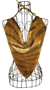Gold & Brown Sequin Halter Top