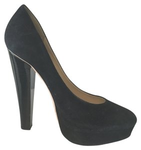 Jimmy Choo Suede Chunky Black Pumps