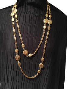 Chanel Rare Vintage Gold Plated Charm extra long Necklace
