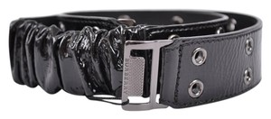 Burberry NEW BURBERRY WOMEN'S $325 BLACK PATENT LEATHER PRENTON STRETCH BELT~32 80