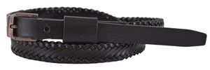 Saint Laurent New Saint Laurent YSL Men's 314647 Black Braided Leather Skinny Belt 42 105