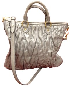 Miu Miu Leather Matelasse Rouched Cross Body Tote in Metallic Gray/Silver
