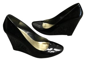 Jessica Simpson Black Patent Leather Wedges
