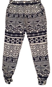 Charlotte Russe Aztec Pattern Skinny Pants Blue and white
